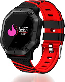 Lantop Waterproof Bluetooth Smart Watch Multi-Function Sport Band Blood Pressure Heart Rate Monitor Running Swimming Fitness Tracker (Red)