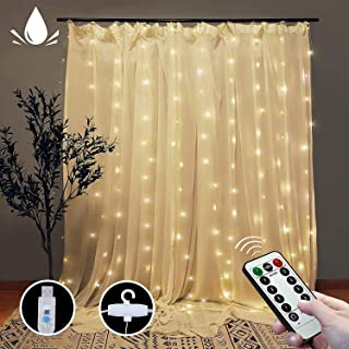 Curtain String Lights, 300 LEDs Window Curtain Fairy Lights with 8 Modes Remote, 3Mx3M USB Powered Fairy Lights for Party,...