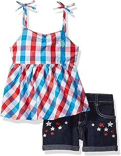 U.S. Polo Assn. Babydoll Spaghetti - Playera sin Mangas y pantalón Corto elástico de Mezclilla para niña