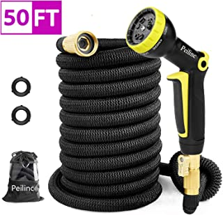 Peilinc Garden Hose 50FT 2019 New Expandable Water Hose with 9 Functions Sprayer Triple Layer Latex and Solid Brass Fittings(1 Year Warranty)
