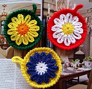 Set of 4 Crocheted Sunflower Coasters Cup Mat Home Living/Family/Kitchen Table Décor Eye Catching Colorful 3.75