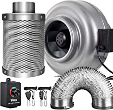 iPower 8 Inch 750 CFM Inline Fan Carbon Filter 25 Feet Ducting Combo with Variable Speed Controller and Rope Hanger for Grow Tent Ventilation