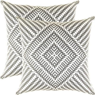 40 x 40 cm, Noir Kal/éidoscope motif D/écoratifs housses de Coussin en toile de coton Lot de 2 TreeWool,
