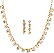 Bindhani Women's Bridal Bride Indian Jewellery Bollywood Bridesmaids Gold Plated Rhinestone Austrian Crystal Party Wear Statement Wedding Necklace Earrings Jewelry Sets