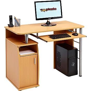 cajonera y Armario para despacho y hogar Efecto Madera Blanca Piranha Emperor PC 2s Gran Escritorio para Ordenador con archivador A4