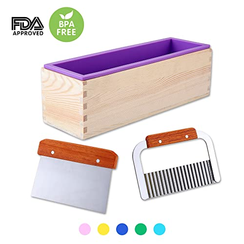 1 Purple Flexible Rectangular Silicone Soap Mold with Large Pine Wood Box for Homemade Produce 1.2