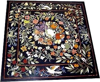 Gifts And Artefacts Table de réunion en marbre avec pierres semi-précieuses Noir 36 x 36 cm