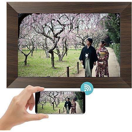 MARVUE wifi デジタルフォトフレーム, 自動再生, C10 10.1インチ 1280*800高解像度 IPS広角視野 16GB内蔵メモリ/32大容量SDカード対応/自動回転 動画/写真/スライドショー機能 日本語取扱説明書 (褐)