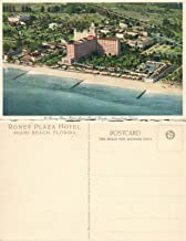 MIAMI BEACH FL RONEY PLAZA HOTEL AEROPLANE VIEW VINTAGE POSTCARD