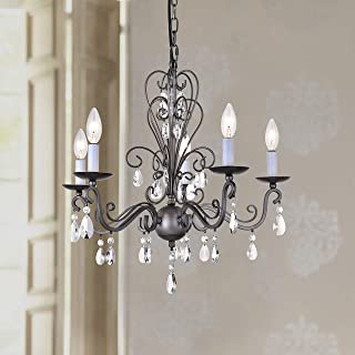 Wrought Antique Nickel Iron Rustic Vintage Pendant Candle Chandelier Crystal Lighting Fixture Lamp for Dining Room Bathroom Foyer Livingroom 5 E12 Bulbs Required D22 in x H20 in
