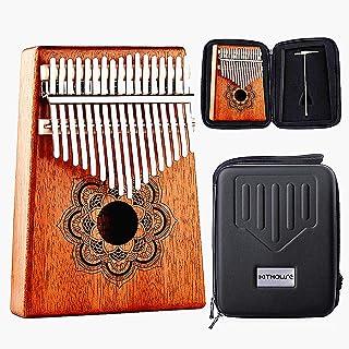 Kithouse Kalimba Thumb Piano 17 Keys, Portable Mbira Finger Piano Include EVA protective Kalimba box, Music Song Book, tuning hammer(Mandala Flower), Gift for Kids Adult Beginners