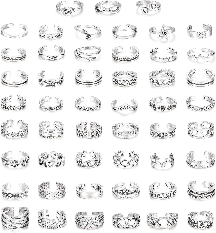THUNARAZ 51 Pcs Open Toe Rings Set for Women Girls Adjustable Twist Flower Knot Simple Arrow Knuckle Toe Finger Tail Ring Band Sandals Retro Foot Jewelry