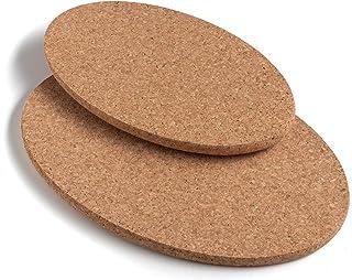 Juego de 2 salvamanteles ovalados de corcho para mesa de cocina de calidad 100% natural de corcho portugués – Tamaños 29 y 24 cm