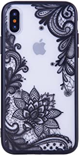 JICUIKE iPhone X Case, [Render Print] Phone Cases Henna Paisley Datura Sexy Lace Flower Soft Border + Matte Hard Back Cover for iPhone Xs Shell 5.8 inch [Black Mandala]
