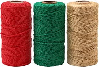 Resinta 3 Rolls 984 Feet Christmas Twine Thick Jute String Rope Cotton Baker Twine for DIY Craft Christmas Gift Wrapping (...