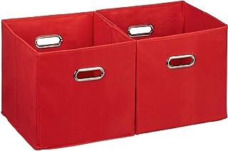 Relaxdays 10025656_47 Lot de 2 boîtes de rangement, sans couvercle, avec poignée, pliable, panier en tissu carré, 30 cm, r...