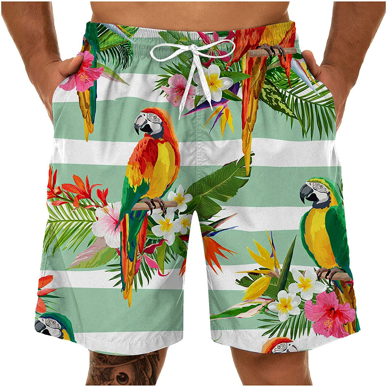 YUNDAN Men's Summer Shorts Quick Dry Casual Funny Print Swim Trunks with Pockets Fashion Surfing Athletic Swimwear