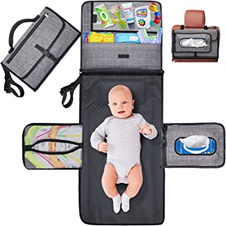 Gimars Large Capacity 6 Pockets Baby Portable Changing Pads, Waterproof & Easily Cleanable Detachable Travel Portable Diap...