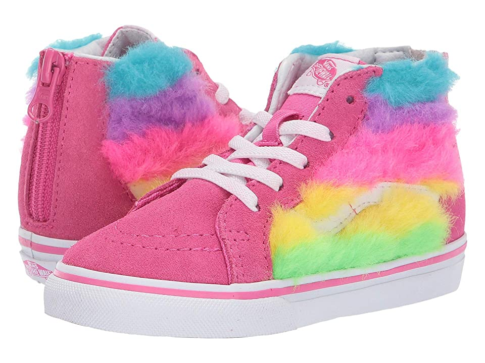 Vans Kids Sk8-Hi Zip (Toddler) ((Rainbow Fur) Carmine Rose/True White) Girls Shoes
