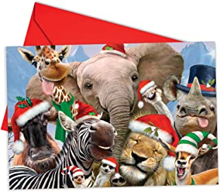 12 'Merry Christmas to Zoo Elephant Boxed Christmas' Note Cards w/Envelopes 4.63 x 6.75 inch, Merry Xmas Greeting Cards with Smiling Animals, Stationery for Kids, Adults, Holidays, Gifts B6652CXSG