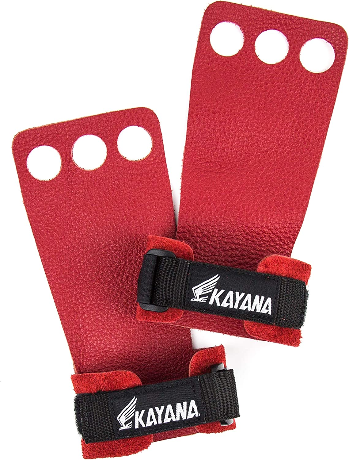 /& Exercise Chin ups Kettlebells Workout Weightlifting Palm Protection and Wrist Support for Cross Training Pull ups KAYANA 3 Hole Leather Gymnastics Hand Grips