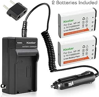 Kastar Battery (X2) & AC Travel Charger for Casio NP-90 NP90 work with Casio Exilim EX-H10 EX-H15 EX-H20G EX-H20GBK EX-H20GSR EX-FH100 EX-FH100BK Cameras