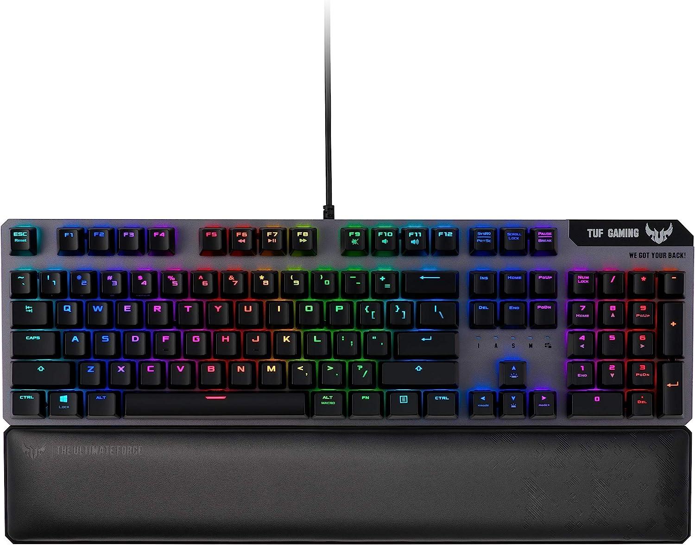 ASUS Optical-Mechanical Compact Gaming Keyboard - RA03 TUF K7 PC Gaming Keyboard, Tactile Switches, 25X Faster, Magnetic Wrist Rest, IP56 Waterproof Standard