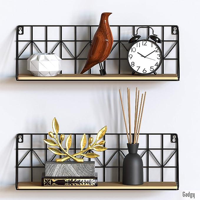 375 opinioni per Gadgy Mensola da Muro Design   Set di 2 scaffali metallo sospesa Nero  