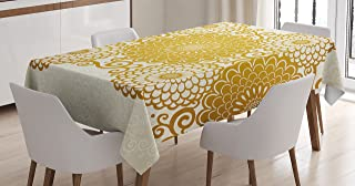 Ambesonne Mandala Tablecloth, Border with Large Flowers and Curls Chrysanthemums Peonies Rococo Style, Dining Room Kitchen Rectangular Table Cover, 60