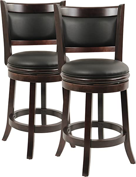 Boraam 8824 Augusta Counter Height Swivel Stool 24 Inch Cappuccino 2 Pack