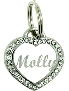 Yippo Accessories Custom Engraved Personalized Stainless Steel Small Heart Rhinestones Dog Cat Pet ID Jewelry Bling Tag