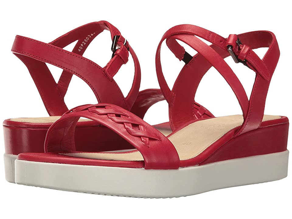 ECCO Touch Braided Plateau (Chili Red Calf Leather) Women