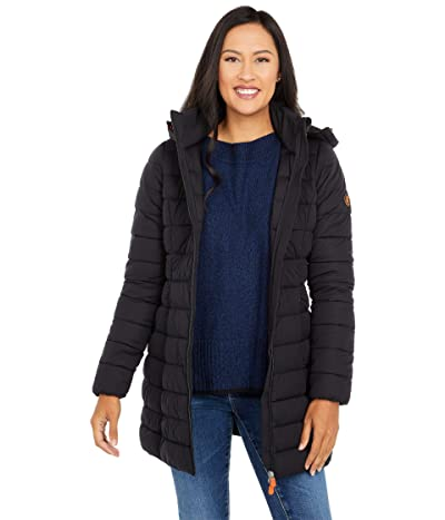 Save the Duck Sealy Matte Finish Stretch Hooded Puffer Jacket (Black) Women