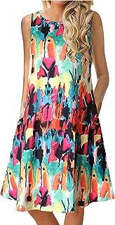 فستان صيفي كاجوال للنساء فستان شمس متأرجحة ثوب سباحة شاطئ يغطي مع جيوب