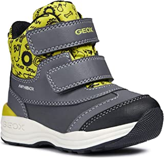 Geox Boys' NEWGULP 5 Waterproof Boots Dual Riptape, Grey/Lime, Snow, 22 M EU Toddler (6.5 US)