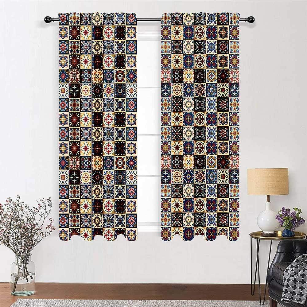 GugeABC Kitchen Window Curtains メーカー公式ショップ 84 inch Moroccan 超美品再入荷品質至上 Length Drapes
