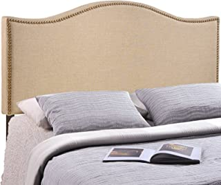 Modway Curl Linen Fabric Upholstered Queen Headboard with Nailhead Trim and Curved Shape in Café