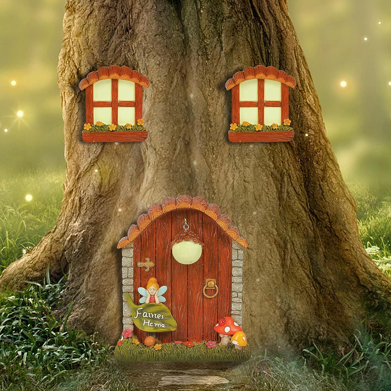 Miniatures Fairy House Garden Gnomes House, Window and Door for Tree Decorations Outdoor, Yard Art Garden Noctilucence Sculpture, Garden Decor Fairy Garden Accessories, Lawn Ornament DéCor