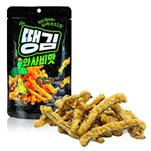 Fried Seaweed Chips with Wasabi Seasoning [ Korean Snacks ] Crispy Korean Gim Snacks, Spicy Asian Snackfood On The Go [ JRND Foods ] Four Pack