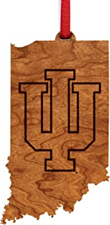 Indiana University Hoosiers Wooden Ornament - State Map with Logo