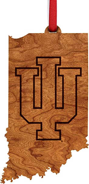 Indiana University Hoosiers Wooden Ornament State Map With Logo