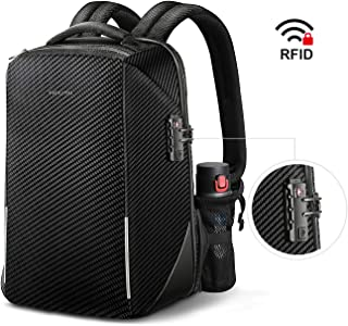 Anti-Theft Laptop Backpack, Fintie TSA Friendly Lock Water Resistant Rucksack with RFID Protection, USB Port for Travel Business School Outdoor Daypack Men Fits 15.6 Inch Notebook, Black