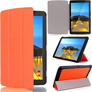 LG G Pad 10.1 Case - Cellularvilla [Ultra Slim] Light Weight Smart shell Premium Pu Leather Flip Folding Stand Case Protective Cover for LG G Pad V700 / VK700 LTE Verizon 10.1 Inch Tablet (Orange)