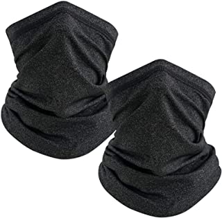 TICONN Neck Gaiter Face Cover Scarf (Heather Black 2-Pack), Summer Cool Breathable Lightweight Sun & Wind-proof for Fishin...