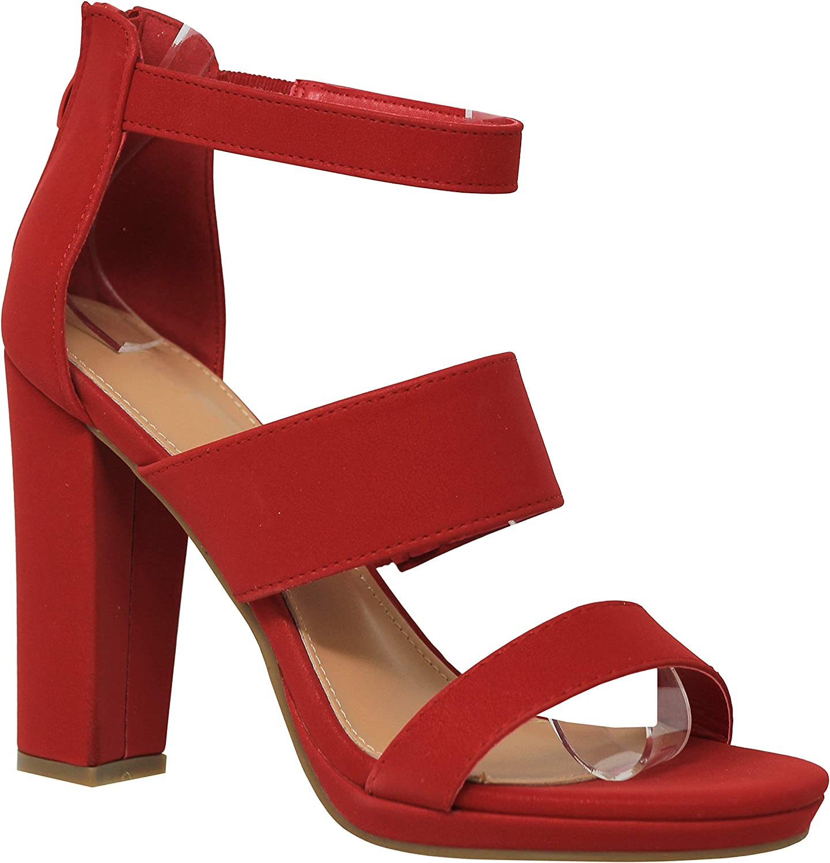 MVE shoes Womens Open Toe Three Strap Chuncky Heel with Platform
