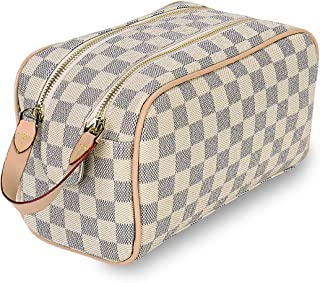Luxury Checkered Cosmetic Bag Two-Zipper Make Up Bag PU Leather Toiletry Travel Bag for Women,Cream