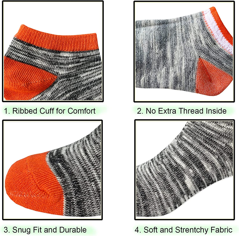 Jamegio Ankle Athletic Socks 12 Pairs Boys Socks Kids Toddler Half Cushion Low Cut socks for Boys Girls Size Age 2-8