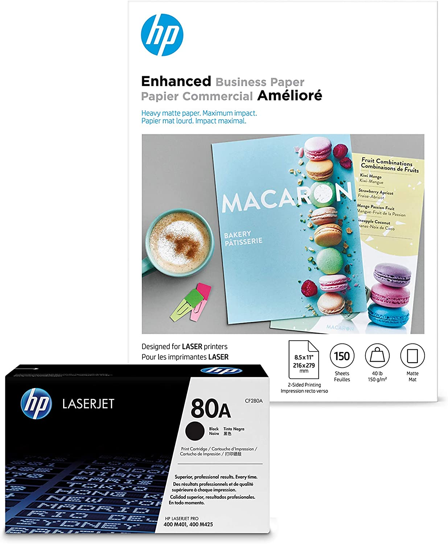 HP 80A Manufacturer OFFicial shop trust Black Toner + Brochure Paper x Matte 8.5 Laser 11