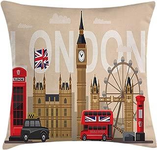 Ambesonne London Throw Pillow Cushion Cover, Famous Britain Landmarks Monuments Art Pattern Touristic Travel Destination, Decorative Square Accent Pillow Case, 18