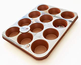 David Burke Kitchen Commerical Weight 12 Cup Muffin Bakeware (COPPER)